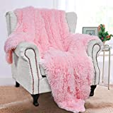BENRON Plush Throw Blankets, Super Soft Shaggy Fuzzy Sherpa Blankets, Cozy Warm Lightweight Fluffy Faux Fur Blankets for Bed Couch Sofa Photo Props Home Decor, Washable 50'x60' Pink