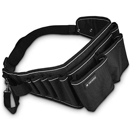 Navaris Cinturón para herramientas con hebilla - Porta herramientas con varios compartimientos - Organizador de herramientas con correa en negro gris