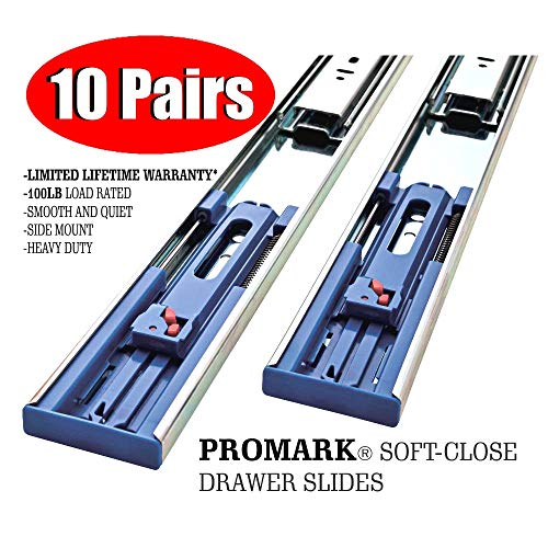 Promark 22 Inch 100 LB Capacity Full Extension Soft / Self Close...