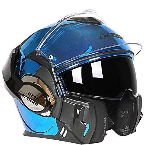 MYSdd Motorradhelm Cabrio Modular Racing 180 Grad Flip Forward Modular Design Kratz- und UV-Maske - Blau Chrom XL