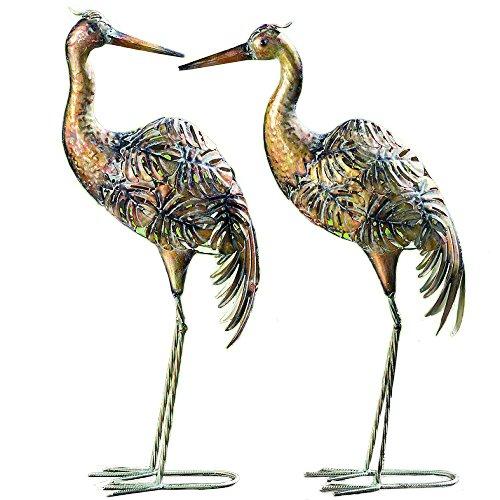 CasaJame 2 Gartenfiguren Metallvögel Kranich Kupfer 78cm