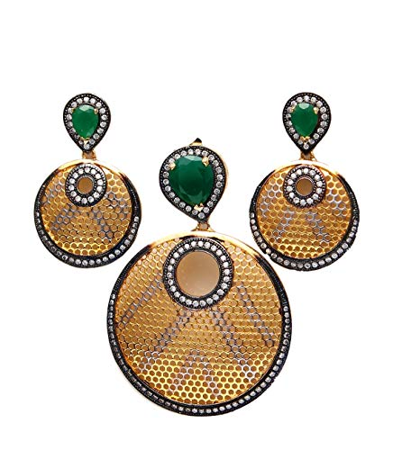 JewelryOnClick Pendant with Drop Earring for Women Girls Ladies Green Onyx Locket Gold Plated Handmade Jewellery for Women and Girls MMP 25-Green