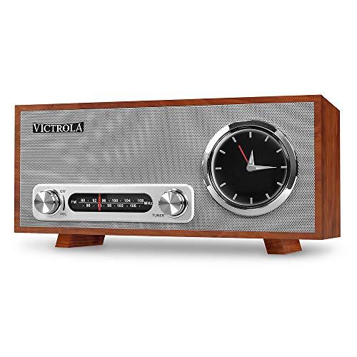 Victrola Broadway Vintage Altavoz Bluetooth con radio, alarma y reloj analógico