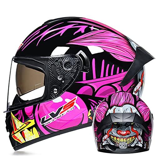 Casco de motocicleta de cara completa unisex para adultos Hombres Mujeres Forro extraíble aprobado ECE Moto de motor Casco de motocross de doble visor Moto Cascos,9,S 55~56cm