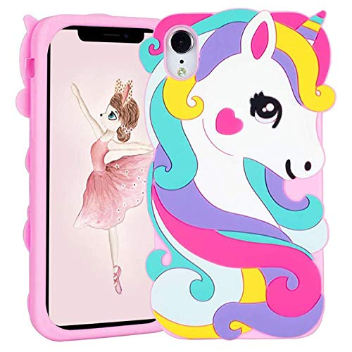 Jowhep Case for iPhone XR Silicone Carton Design Cute Cover Fashion Funny Kawaii 3D Skin Protective Shell for iPhone XR 6.1' Shockproof Scratch Resistant Fun Cases for Girls Kids Women Pink Unicorn