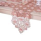 XFentech テーブルランナー ピンク - ホロウ エレガント テーブルランナー 結婚式 宴会 キッチン レストラン カフェ ダイニングテーブルの装飾, テーブルランナー, 40x200cm