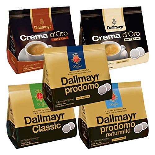 Dallmayr Prodomo Kaffeepads Maxi Set, 5 Sorten, Crema d'Oro, Classic, für alle Padmaschinen, 82 Pads