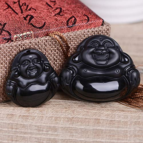 GZMUS Feng Shui Wealth Lucky Engraving Pendant Natural Obsidian Laughing Buddha Pendant Natural Semi-Precious Gemstone DIY Bracelet Accessories for Necklace Jewelry Making(3Pcs Set),Small