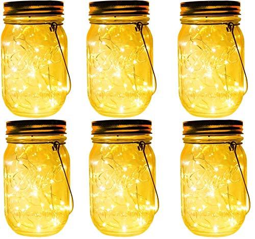 6 Stück Solarlampe/Solar-Laterne im Einmachglas fur Garten LED Wetterfest Solar Einmachglas Aussen Lampions,Lichterkette im Glas,Gartendeko Solarleuchten für Weihnachten,Außen Laterne,Tisch,Baum 480ml