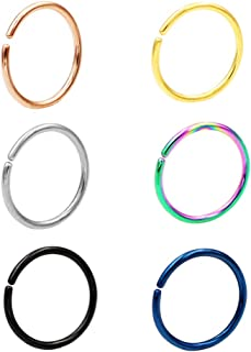 Seamless Nose Rings Hoop Septum Ring Piercing Earrings for Women for Helix Daith Rook Tragus Conch Lip Men's Body Jewelry 22g/20g/18g - 6mm/8mm/10mm/12mm - Silver/Gold/Rose Gold