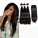 LAdiary Brazilian Human Hair Bundles with Closure Remy Brazilian Virgin Straight Hair 3 Bundles with Closure Human Hair 9A Menschliches Haar Natural Black 10 12 14+10 Inch