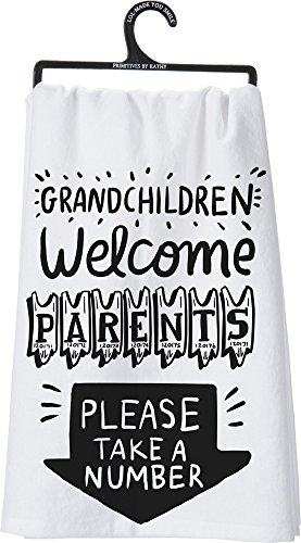 Primitives by Kathy LOL Made You Smile Dish Towel, 28' Square, Grandchildren Welcome