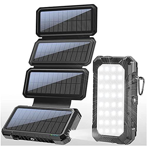 Cargador Solar Portátil 26800mAh, Banco de energía Solar, Solar Carga Rápida 2 Puertos de Salida con LED Linterna USB Cargador Rápido de Teléfono Celular para Viajes, Camping,Negro