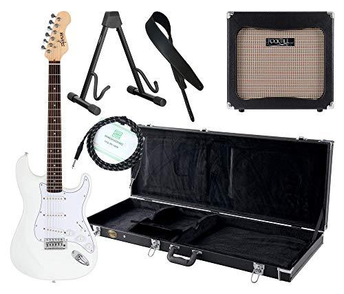 Shaman Element Series STX-100W Komplett Set - E-Gitarre - Modeling-Verstärker - Koffer - Ledergurt - Ständer - Kabel - Weiß