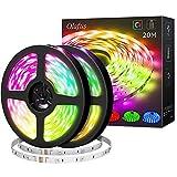 Olafus 20M Ruban LED, Télécommande 44 Touches 20 Couleurs 6 Modes 600 LEDs RGB, Bande Lumineuse 5050 Multicouleur Dimmable...