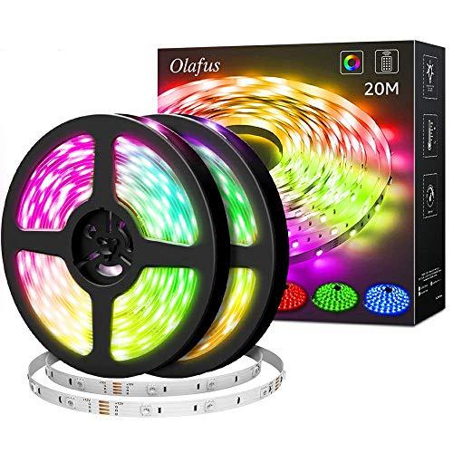 Olafus 20M RGB LED Strip, Farbwechsel LED Streifen 24V, 5050 RGB LED Streifen Selbstklebend, LED Band Lichterleiste mit Fernbedienung, 600 LEDs Lichtband für Weihnachten Party Deko