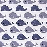 SCHÖNER LEBEN. Baumwollstoff Wal weiß dunkelblau grau