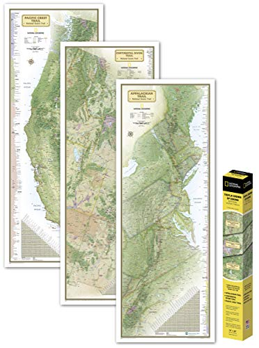 National Geographic: Triple Crown of Hiking in Gift Box Wall Map (18 X 48 Inches) (National Geographic Reference Map)
