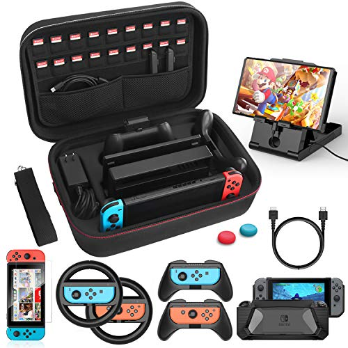 Case Accessories Kit Compatible with Nintendo Switch 12 in 1 Switch Carry Case PlayStand Grip Steering Wheel, Grip, Screen Protector Protective Case Cover Thumb Grips Charger Cable