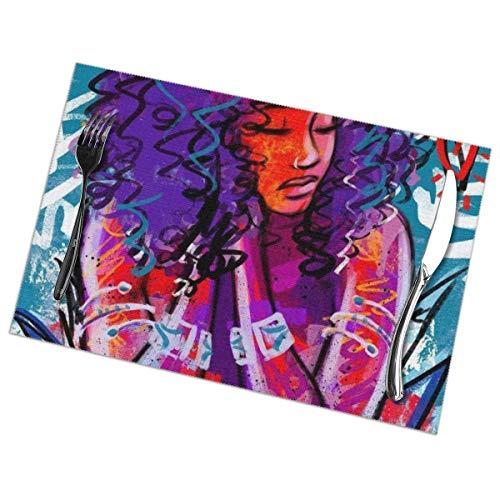Manteles individuales resistentes a las manchas del aislamiento térmico de las esteras del lugar del PVC de la impresión del graffiti de la mujer