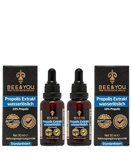 Bee&You Propolis Extrakt Tinktur Wasserlöslich 10% x 2 (ohne Alkohol - Standardisiert auf 10% - Fairer handel - Keine Zusatzstoffe)