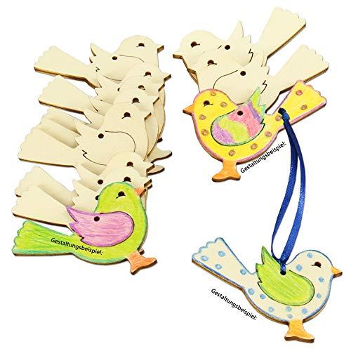 Vogel Holz 12 Stück Vogel Pappel-Sperrholz gelasert Holzvogel Dekoration ca. 5,5x4 cm Holzdeko zum Auf-hängen Holzfiguren Vogelform 3mm stark bemalen gestalten verzieren Wohndeko 401460-A