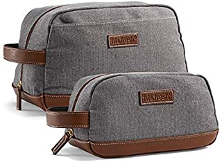 Fit & Fresh Toiletry Bag for Men, 2-Pack Set, Gray with Brown Trim