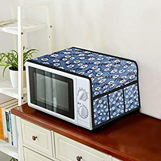 Home Layer Microwave Oven Top Cover 15 to 23 L with Pockets (Blue and White, 30 x 14 inch)