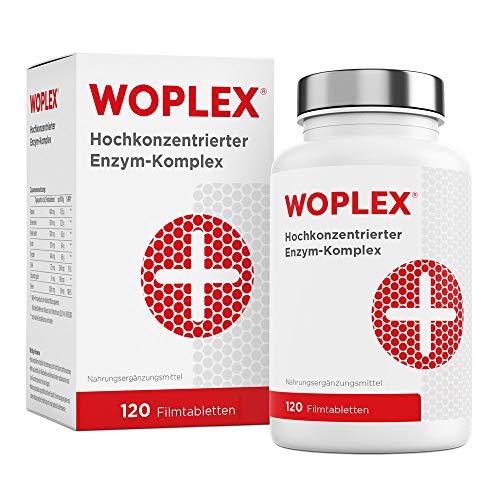 Woplex Enzym-Komplex I 6-fach Enzyme hochdosiert (Papain, Bromelain, Pankreatin, Rutin, Trypsin & Chymotrypsin) - 120 Tabletten magensaftresistent