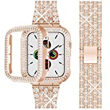 Beuxece Bling Band Compatible Apple Watch Band + Rhinestone Diamond Case 38mm/40mm/42mm/44mm, iWatch Series 6/SE/5/4/3/2/1 band, Jewelry Bracelet Wristband Strap Replacement for Women, RoseGold(38mm)