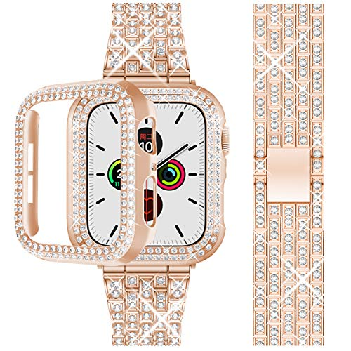 Beuxece Bling Band Compatible with Apple Watch Band +Bling Case 38mm/40mm/42mm/44mm, iWatch SE Series 6/5/4/3/2/1 band, Metal Jewelry Rhinestone Diamond Bracelet Wristband for Women, Rose Gold(44mm)