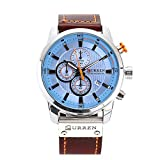 Curren Herren Pu-Leder Sport Armbanduhr Lässige Uhr Wasserdicht Quarzuhr