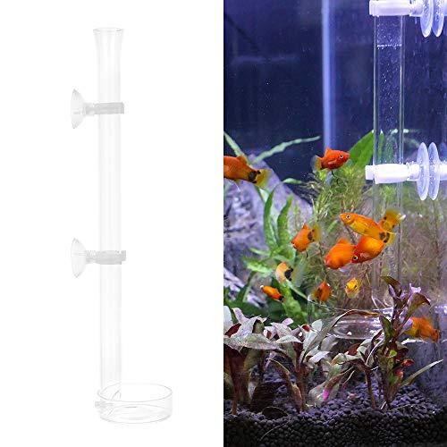 SENZEAL Aquarium Glas Garnele Futterschale Rohr Dish Schüsseln Reptilien für Fisch Tank Fütterung 300mm/11.81'' Länge mit Runden Feeder