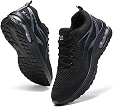 Xikete Running Shoes Women Tennis Sneakers Air Cushion Arch Support Memory Foam Slip Resistant Work Shoes Lightweight Mesh Breathable Gym Athletic Sports Black US 7.5