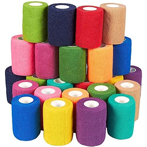 Paquete de 24 cintas autoadhesivas para primeros auxilios, deportes, muñeca, tobillo en 12 colores con 2 rollos cada uno, 7,62 cm x 1,52 m