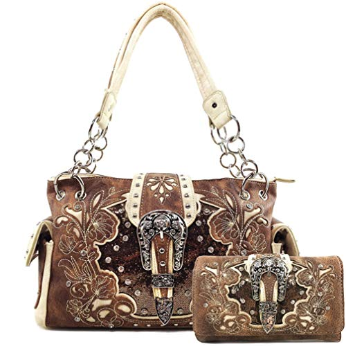 Zelris Western Floral Blossom Buckle Women Conceal Carry Handbag Wallet Set (Brown)