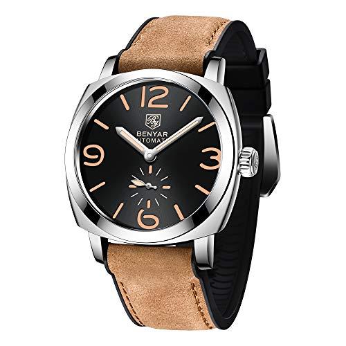 Herren Automatik BENYAR Automatikuhr Elegant Mechanische Wasserdicht Datumskalender Gegenlicht Männer Armbanduhr mit Leder Armband