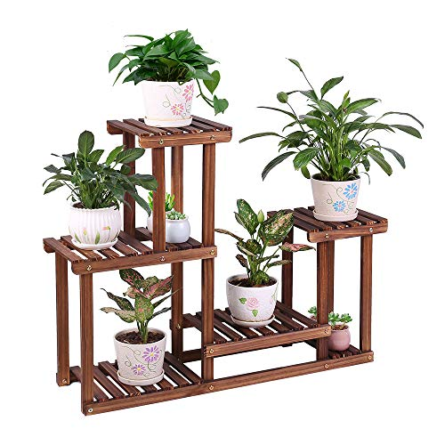Pine Wood Plant Stand Indoor Outdoor Multi Layer Flower Shelf Rack Higher and Lower Plant Holder in Garden Balcony Patio Living Room (4 Tiers Accommodate for 7 Flowerpots)
