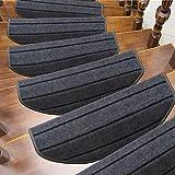 TOUCHFIVE selbstklebend Treppenteppich Treppen-Teppich Stufenmatte Teppich Läufer | halbrund | - 15 Stück (Grau gestreift, 65 * 24cm)