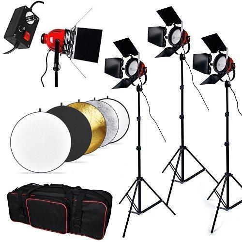 Preisvergleich Produktbild BPS Profi 2400W Fotografie Halogen Videoleuchte Studioset Filmlicht Set 3 x 800w Redhead Dauerlicht Set inkl. Halogen Tageslicht 110CM 5 in 1 Faltreflektoren Set Abschirmklappe Regler Lampenstative und Tragtasche.