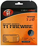 Tier One Sports T1-Firewire - Co-Poly Tennis String for Ultimate Spin (Set - Black, 17 Gauge (1.25 mm) - 12,2 m Set)