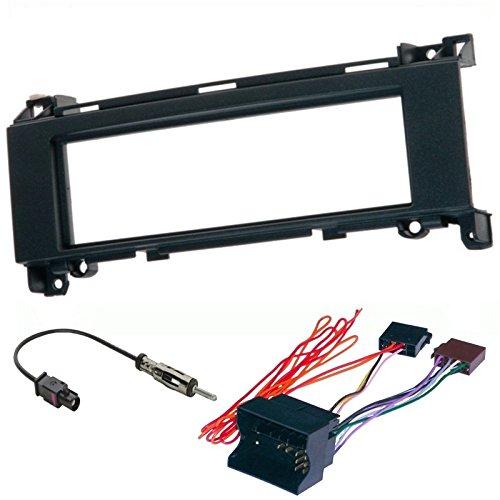 Sound-way Kit Montaggio Autoradio, Mascherina 1 DIN, Cavo Adattatore Connettore ISO, Adattatore Antenna, Compatibile con Mercedes Classe A