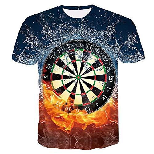 RelaxLife Herren 3D Druck T-Shirt Sommer Beste 3D T-Shirts Dartscheibe T-Shirt Darts Wurfspiel Grafik T-Shirts Kurzarmhemden