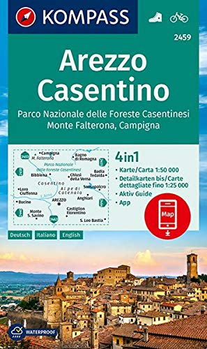 KV WK 2459 Arezzo, Casentino: 4in1 Wanderkarte 1:50000 mit Aktiv Guide und Detailkarten inklusive Karte zur offline Verwendung in der KOMPASS-App. Fahrradfahren. (KOMPASS-Wanderkarten, Band 2459)