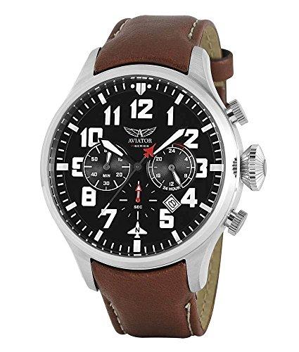 Aviator F Series - Reloj de Pulsera para Hombre con cronógrafo y Correa de Piel, Color marrón
