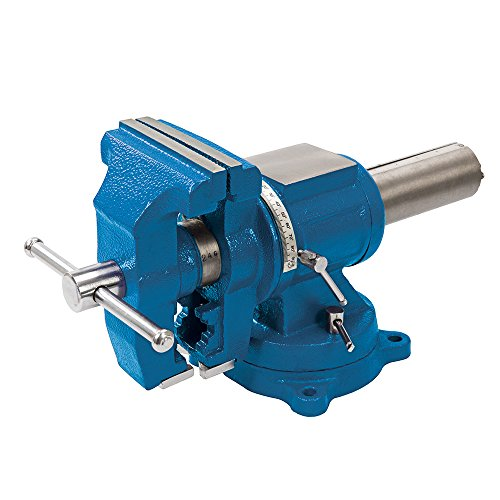 Silverline 979965 Schraubstock mit Drehteller, 125 mm, blau
