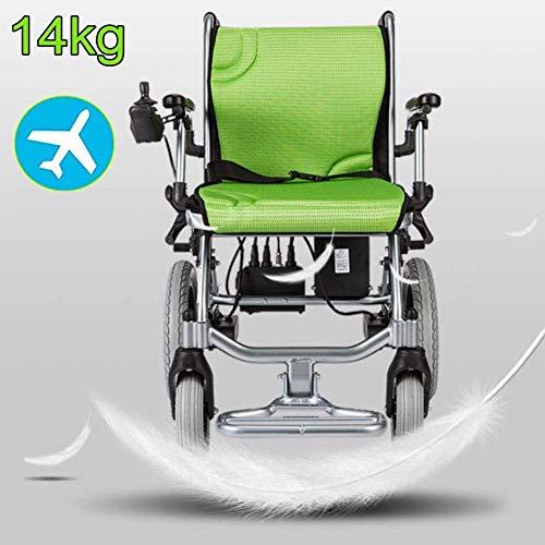 KFMJF Leichtgewicht Elektrischer Rollstuhl, Tragbare Elektrischer Rollstuhl Faltbar, 14kg Leichtbau Intelligente Automatische Elektrorollstuhl, Kann 120 Kg Unterstützen Kompakt