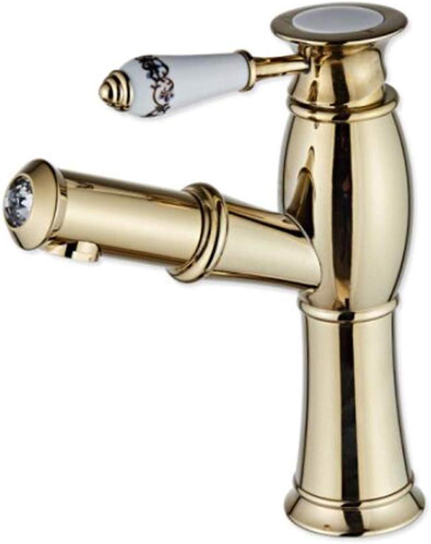 ZJGZDCP Waschtischarmaturen Basin Tap Badarmatur Wasserhahn Becken Bathroom Sink Europischer Stil Kupfer Zeichnung Ziehbar Einzelgriff Warmes Und Kaltes Mischen (Farbe   Gold)