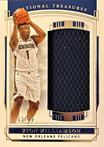 2019 Panini National Treasures ZION WILLIAMSON Jumbo PATCH Rookie Basketball Card - Game Worn Jersey Patch Serial# 65/99 (Only 99 Exist) - New Orleans Pelicans
