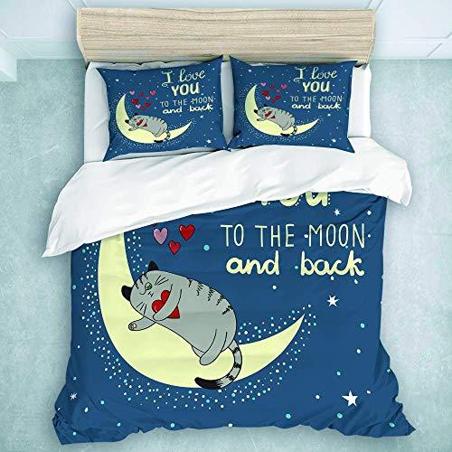 Set copripiumino, Ti amo fino alla luna e scritte romantiche sul retro, Set di biancheria da letto Cartoon 3 pezzi